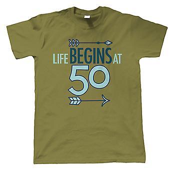 Leven begint bij 50, mens T-shirt-birthday gift hem vader