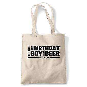 Bursdag Boy Loves øl tote | Happy Birthday feiring Party får eldre | Gjenbrukbare shopping Cotton Canvas Long håndtert Natural shopper miljøvennlig mote