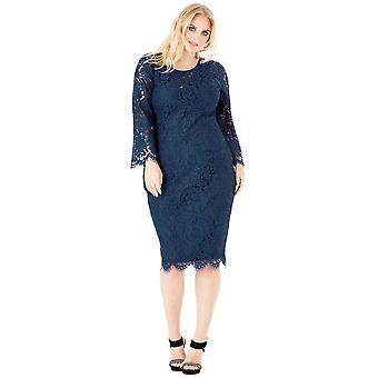 Goddiva Lace Full Sleeved Plus Size Midi Dress