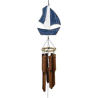 Carved Sailboat Wind Chime