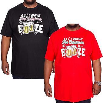 Duke D555 mens stora höga Booze Kortärmad nyhet jul tee Top T-shirt