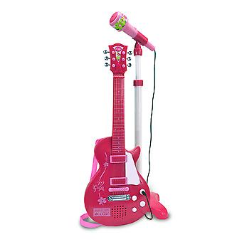 Bontempi Electronic Rock Guitar et Microphone Childrens Instruments musicaux Toys- Pink