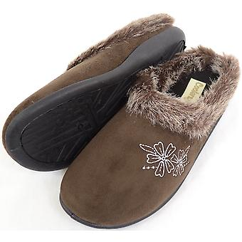 Dames / Womens Floral Design Mule / Slippers met Faux bont Trim - Brown - UK 4