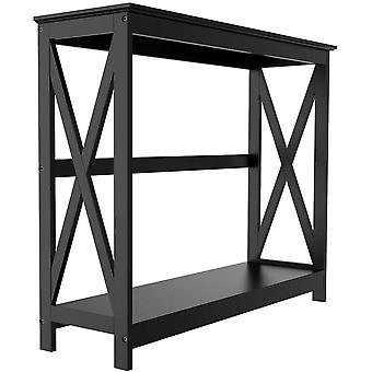 2-Tier Console Tables Side/End Table with Shelf X-Design Wooden Hall Desk for Living Room/Bedroom/Hallway Black