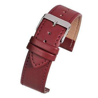 Correa de reloj de cuero colección económica cosida en rojo