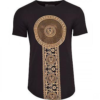 52_DNM Mens Designer Gold Sequin Rhinestone Crystal Diamante Studs Curved Hem T Shirt Lion Print Cotton Elastane