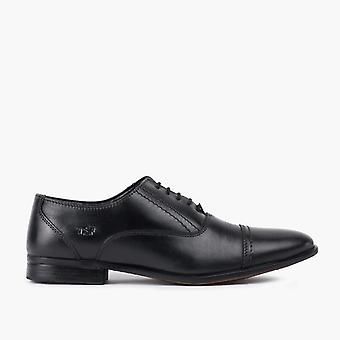 Mens black leather oxford toe cap