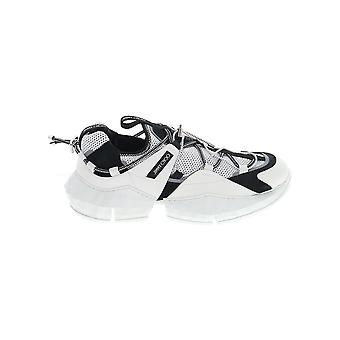 Jimmy Choo Diamondtrailmehlblackwhite Men's White/black Fabric Sneakers