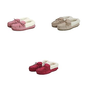 Eastern Counties Leather Womens/Ladies Hard Sole Wool Lined Moccasins