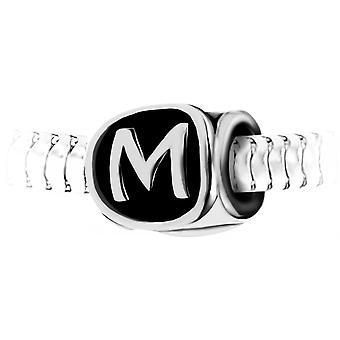Charm perle lettre M en acier par SC Crystal BEA0269-M