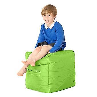 Fun!ture Kids Cube Bean Bag Gewatteerde stoel | Outdoor Indoor Woonkamer Childrens Cubed Shaped Beanbag Zitplaatsen | Waterbestendig | Levendige Play Kids Kleur | Hoge kwaliteit en comfortabel (kalk)