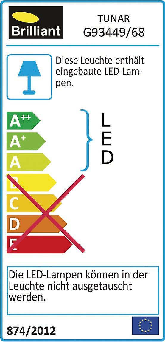 BRILLIANT Lampe Tunar LED Deckenleuchte 2flg quadratisch nickel   1x 30W LED integriert, (2100lm, 3000K)   Skala A++ bis E   In 3 Stufen über Wandschalter dimmbar
