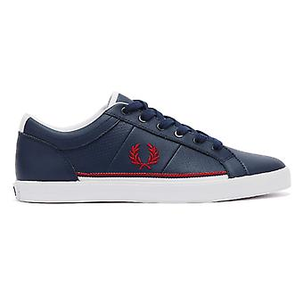 Fred Perry Baseline Perf Lederen Heren Carbon Blue Trainers