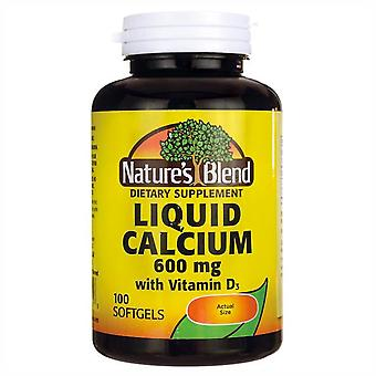 Nature's blend liquid calcium, 600 mg, with d3, softgels, 100 ea