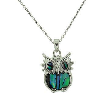 TOC Silvertone Natural Paua Shell Owl Pendant Necklace 16