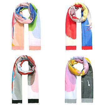 Jewelcity Womens / Dames Grote Plaatsing Feather Print Sjaal