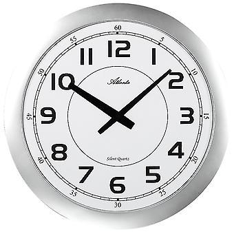 Wall clock quartz analog silver flat round modern Atlanta 4433