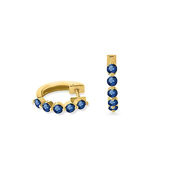 Earrings Hoops Full Stone and 18K Gold - Yellow Gold, Sapphire