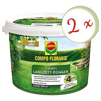 Sparset: 2 x COMPO Floranid® Pitkäaikainen nurmikkolannoitetta, 4,5 kg