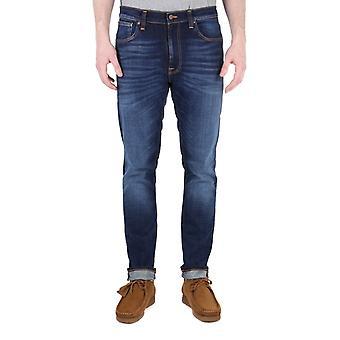 Nudie Jeans Lean Dean Dark Deep Worn Slim Fit Jeans