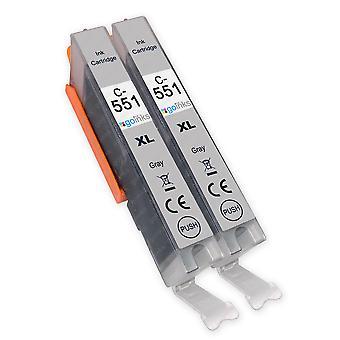 2 Graue Tintenpatronen ersetzen Canon CLI-551GY Compatible/Non-OEM von Go Inks