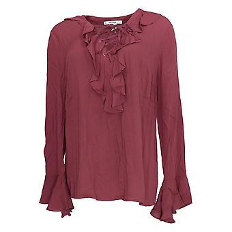 Masseys Women's Top Ruffle Lace-Up Blouse Rose Purple