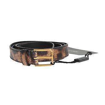 Dolce & Gabbana Brown Leopard Gold Buckle Belt BEL10388-1