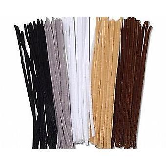 100 Nettoyants à tuyaux couleur animale 6mm | Tiges de Chenille