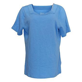Denim & Co. Damen's Top Essentials Square-Neck Kurzarm Blau A365291