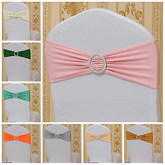 Spandex Sash Bow Tie Chair Cover With Round Buckles For Wedding Party Dinner