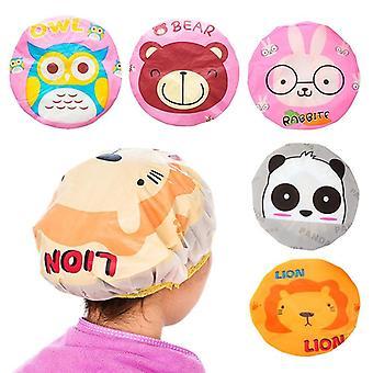 Cartoon Animal Waterproof Shower Cap Waterproof For Women Shower Hair Bonnet Bath Hair Cap Resuable Lace Elastic