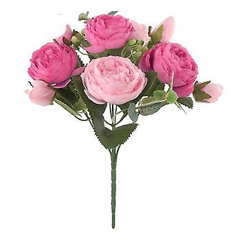 1 bouquet 9 têtes fleurs artificielles Camellia Soie - Faux Fleur Flores pour Diy