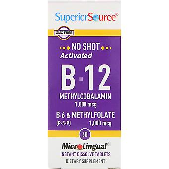 Superior Source, Activated B-12 Methylcobalamin, B-6 (P-5-P) & Methylfolate, 1,0