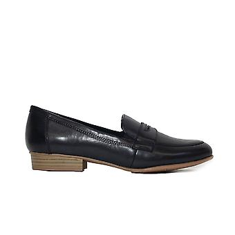 Tamaris 24215 Navy Läder Womens Slip På Loafer Skor