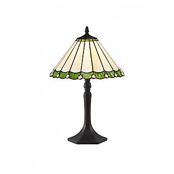 Calais 1 Light Octagonal Table Lamp E27 With 30cm Tiffany Shade, Green/c/crystal/aged Antique Brass