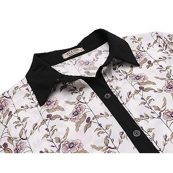 ACEVOG Women's Floral Turn Down Collar Button Front Plited Swing Dress com ...