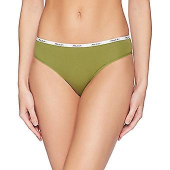 Brand - Mae Women's Logo Elastic Cotton Bikini, 3 Pack,Grape Wine/Green/Charcoal Grey,Medium
