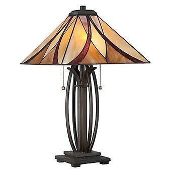 Elstead Asheville - 2 Light Table Lamp Bronze, Tiffany Glass, E27