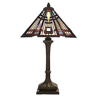 2 Lys bordlampe Bronze, Tiffany Glas, E27