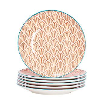 Nicola Spring 6 Piece Geometric Patterned Side Plate Set - Small Porcelain Dining Plates - Coral - 19cm