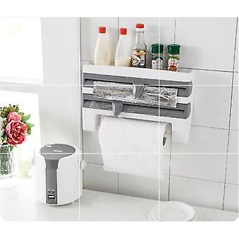 Refrigerator Cling Film Storage Rack - Wrap Cutter Wall Hanging Paper Towel Holder