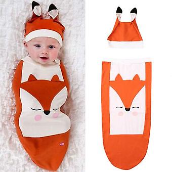 Newborn Fox Sleeping Bag, Infant Warm Blanket Swaddle Wrap Gown Cotton Hat