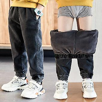 Autumn And Winter Jeans Cotton Washed Kids Korean Pants Baby Plus Velvet