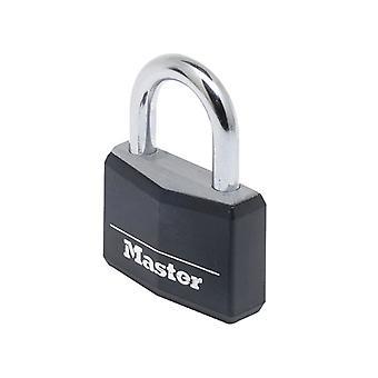 Master Lock Aluminium Black Vinyl Cover 50mm Padlock 4-pins MLK9150BLK
