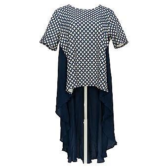 DG2 por Diane Gilman Women's Top Hi-Low Printblock Blue 687-811