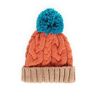 Powder Karina Cable Knit Pom Pom Hat | Tangerine Mix