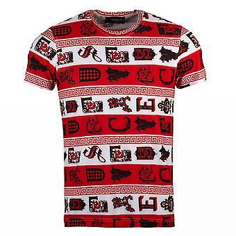 Oscar Banks Check Style Print Mens T-Shirt