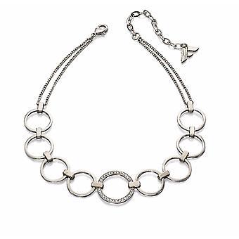 Fiorelli Fashion Imitation Rhodium Plated Open Circle Pave Crystal Choker Necklace 28cm + 6cm
