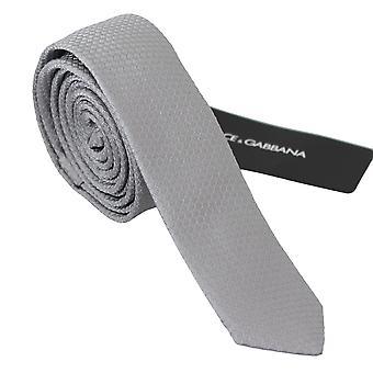 Gri 100% mătase brodate cravată clasică cravată largă