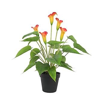 Artificial Flowering White And Orange Peace Lily Calla Lily Plant 50Cm